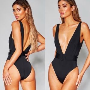 NEW Sexy Black Hi-Cut One Piece Belted Swimsuit M